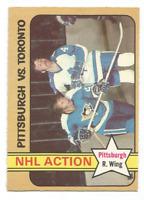 1972-73 O-Pee-Chee #186 Eddie Shack NHL Action Pittsburgh Penguins