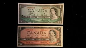 Two CIRCULATED 1954 Canadian banknotes