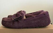 UGG Womens 10 Port Purple Suede Dakota Stargirl Slippers Moccasin Loafer Shoes