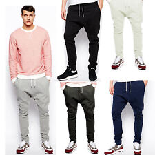 Mens Hip Hop cuffed trousers Cotton Low Drop Crotch Casual Sport Sweatpants S-XL