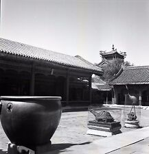 Chinese Buildings and Courtyard - 1930s China - Vintage B&W Negative