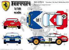 Ffsmc Productions Decals 1/18 Ferrari Gtb/4 le Mans 1972 Pozzi / Carrefour