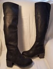So Sled Black F Leather Rider Above Over Knee High Block Heel Fashion Boot 6 $90