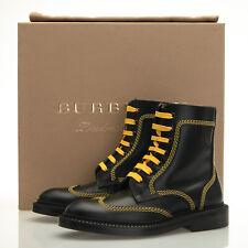 Burberry Bert Black Leather Yellow Stitching Mid High Boots - Women's 5.5 B