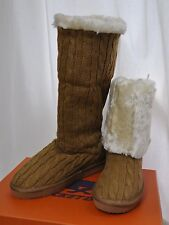 Cozy Knit Boots Size 11 Tan Rocket Dog Flight Boot Faux Fur Lined Cuff Sweater