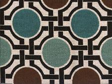 Designer Upholstery Fabric Heavy Wt. Jacquard Geometric Circles - Teal / Brown