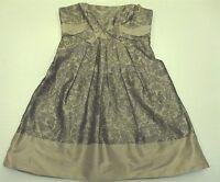 BCBG MAXAZRIA Women's Size 4 100% Silk Strapless Formal Beige Tea Dress