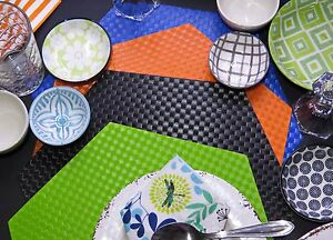 Unique Eco Hexagonal Placemat/Tablemat, 4pcs. Wipe Clean,Waterproof,In/Outdoors.