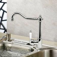 Traditional Swivel Single Lever Kitchen Sink Mixer Taps Chrome Monobloc Basin UK