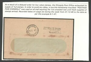 1949 NORTHERN RHODESIA - POSTAGE PAID CHINGOLA - scarce handstamp