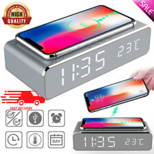 Modern Mirror Digital LED Desk Alarm Clock Thermometer with Wireless Charger CA
