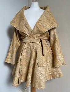 SAKAI PARIS Vintage 80's Gold Brocade Shawl Collar Fit & Flare Wrap Coat 12-14
