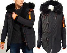 SUPERDRY Mens £129 Black Fur Hood WINTER SD4 FLIGHT PARKA JACKET Size L #5107