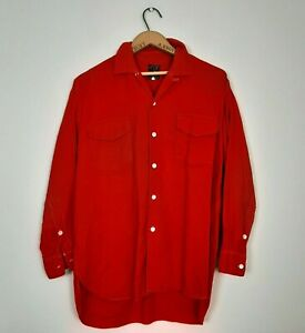 Gerhard Kennedy Viyella Mens Size L 16 Vintage Red 100% Wool Shirt Outdoorsman