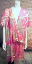 "Pink voile satin butterfly wrap kaftan tunic top 66"" 22 24 26 28 30 32"
