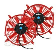 "2x 9"" INCH SLIM FAN RADIATOR PUSH PULL THIN ELECTRIC COOLING 12V 1500CF RED"