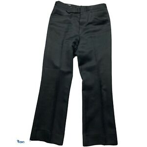 Vintage 60s 70s Style Pants Mens 34 30 Sansabelt Black Garbadine GOLF Slacks