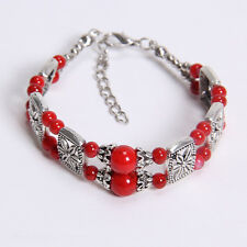 Free shipping New Tibet silver multicolor jade turquoise bead bracelet S14