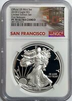 2018 S PROOF SILVER EAGLE LIMITED EDITION SET NGC PF70 FR ULTRA CAMEO TROLLEY