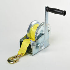 2000 lbs Hand Winch Hand Crank Strap Gear Winch ATV Boat Trailer Heavy Duty NEW