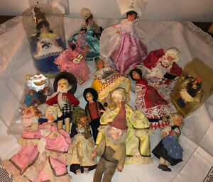 Vintage (1970's) Costume Souvenir Dolls. Job Lot. Some Labelled In Packaging