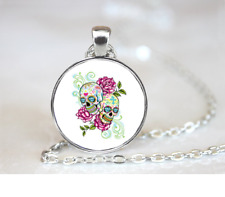 Sugar Skull & Roses Neon PENDANT NECKLACE Chain Glass Tibet Silver Jewellery
