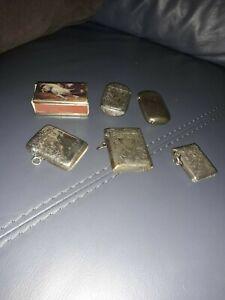 antique silver plate vesta cases,condition worn