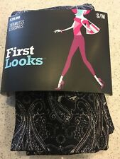NEW First Looks Black Bandana Floral Seamless Soft/Stretch Leggings Size S/M