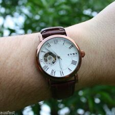 Genuine Leather Band Dress/Formal Wristwatches with Skeleton
