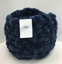 UGG Cable Beach Drum Basket / Stool Cover In Velvet Navy 12 x 12 Inches