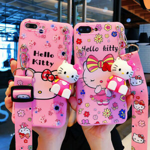 KT Cat Cartoon TPU Soft Add Doll Lanyard Shockproof PhoneCase For iPhone 12 11 X