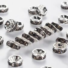 53850-98 Pack of 5 Round Rhinestone Clear Ab Spacer Bead
