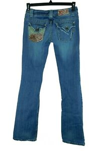 Miss Me Boot Leg Patched Distressed Signature Rise Jeans 27X33 Model JP4522CX