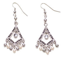Glamorous -silver & White Pearl Fringe/Black & Clear Diamante Earrings(Zx259)