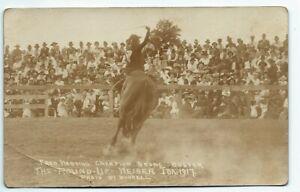 Fred Harding Champion Bronc Buster Weiser Idaho 1917 Real Photo Postcard RPPC
