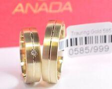 1 Paar Trauringe Gold 333 mit Brillant 0,02ct - Breite 5mm - Stärke 1,5mm