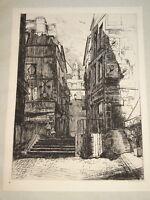 Ernest-Marie HERSCHER 1870-1939 Gravure VIEUX PARIS IV MARAIS RUE SAINT BON 1911