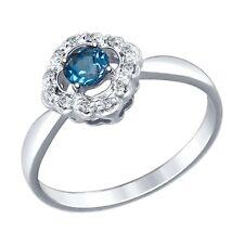 MIRKADA Damen 925 Silber Ring mit London Blu Topas und Zirkonia Gr. 56 *NEU *
