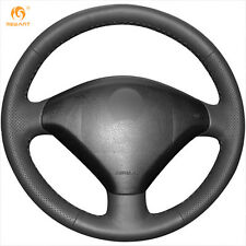 Mewant DIY Hand-Stitched Black Leather Steering Wheel Cover for Peugeot 307