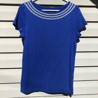 Talbots Women's Shirt Top Pima Cotton Beaded Navy/White Crewneck Short Sleeve L