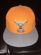 New Era Chicago Bulls Fitted Cap 7-1/4 Hat Orange Grey Hot Lava AS All Star