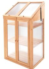 Double Door Mini Wooden Greenhouse W/ Polycarbonate Glazing Size:H120XW69XD51CM