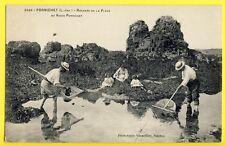cpa PORNICHET (Loire Atlantique) Rochers de la PLAGE PÊCHEURS Epuisettes
