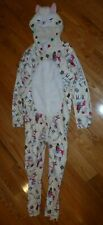 Girls Justice Hooded Ivory Llama One Piece Pajama Size 10 Footless, Zipper NWT