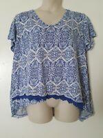 Westbound Woman Blue White Geometric Asymmetrical Knit Trim Tee Plus Size 3X