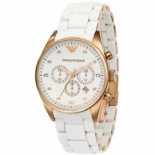 Nuevo Genuino Emporio Armani AR5920 Blanco De Silicona Goma Reloj De Oro Rosa para Mujer