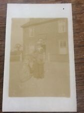 Vintage Antique Early RPPC Woman by Bicycle c1905 Potally Unused Bike Cycling