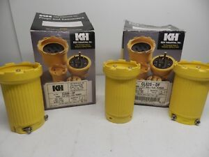 Lot of 3 K&H Industries CL620-DF & CL630-DF 20A & 30A 250V 2 Pole 3 Wire Plugs
