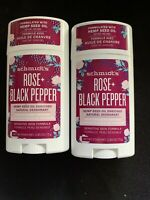 2X SCHMIDT'S ROSE + BLACK PEPPER HEMP SEED OIL ENRICHED NATURAL DEODORANT