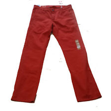 Dockers Men's ALPHA Khakis Size 34W 34L Red 100% Cotton Slim Tapered